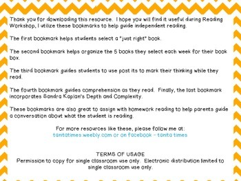 Bookmarks for Independent Reading