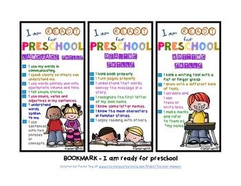 Bookmarks for Preschool