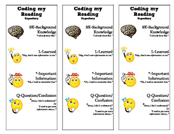 Bookmarks for Reading Comprehension and Coding
