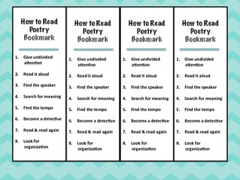 Bookmarks for Reading Poetry, Literature and Non-fiction Text