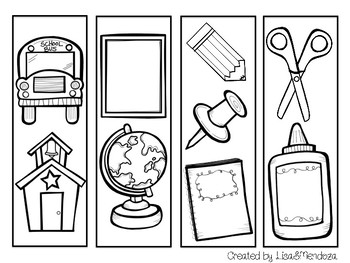 Bookmarks to Color - Back to School
