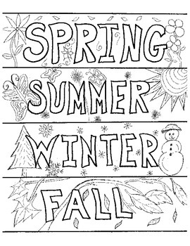 Bookmarks to Color:  Seasons