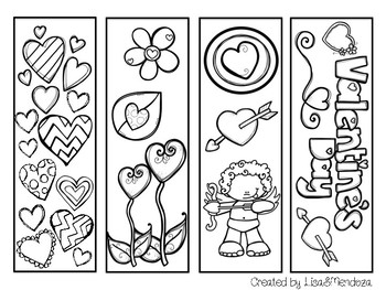 Bookmarks to Color - Valentine's Day