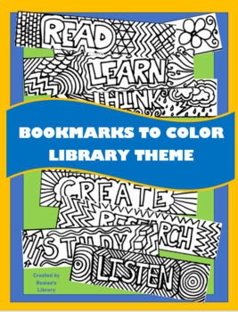 Bookmarks to Color: Library Theme