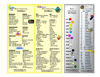 Bookmarks with German Phrases, Colors, and Numbers