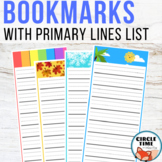 Bookmarks with Primary Lines: Spelling Lists, Reading Rewa