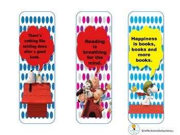 SNOOPY THEMED BOOK MARKS WITH A READING QUOTE (FREEBIE)