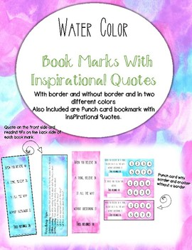 Bookmarks with inspirational quotes and punch card.