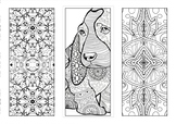 Bookmarks zentangle dog and other hand drawn illustration