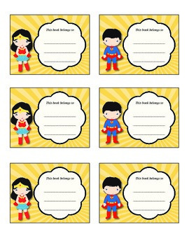 Bookplates - Superman & Wonder Woman