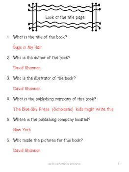 "Book Activities for ""Bugs in My Hair"""