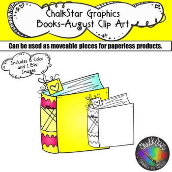 Books August Clip Art –Chalkstar Graphics