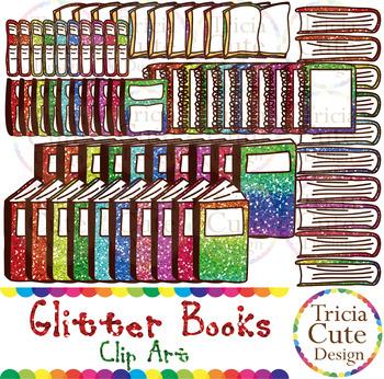 Books Clip Art Glitter Open Book Closed Book Notebook