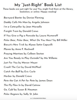 """Books I Can Read"" List By Guided Reading Level (A-Z) for Parents Summer Reading"