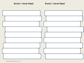 Books I Have Read - Reader's Notebook Page
