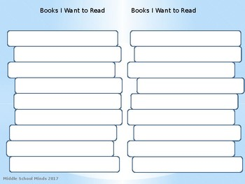 Books I Want to Read - Reader's Notebook Page
