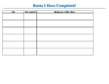 Books I have completed tracking sheet