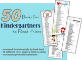 Kindergarten Reading List Bookmarks