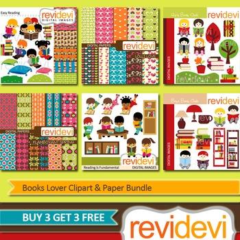 Books Lover Clip art (6 packs) kids reading, library