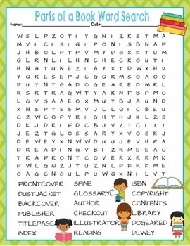 Books Parts of a Book Activities Crossword Puzzle & Word Search Find Common Core