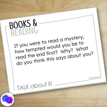 Books and Reading: Discussion Topic Cards