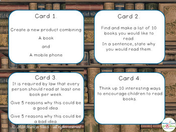Task Cards -Activities about 'the Book'  X  28