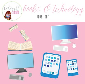 Books & Technology Illustrations - BLUE