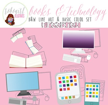Books & Technology Illustrations - FREEBIE!