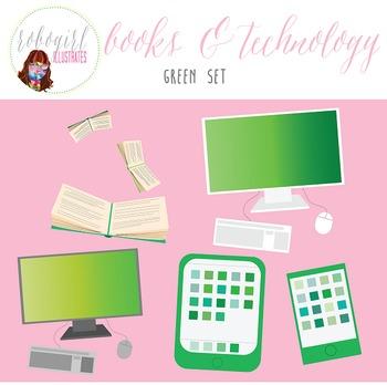 Books & Technology Illustrations - GREEN