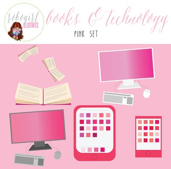 Books & Technology Illustrations - PINK