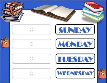 Books Weekday Chart! Reading Bulletin Board! Reading Theme! Library Theme Decor!
