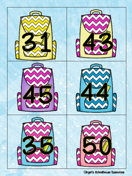 Place Value Tens and Ones to 50 Books and Backpacks Card Game