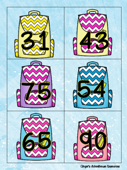 Place Value Tens and Ones to 99 Books and Backpacks Card Game