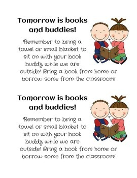 Books and Buddies Reminder Slip