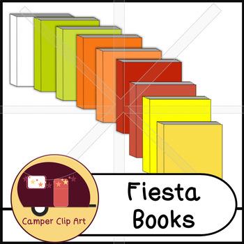 Books in Fiesta Colors, Clip Art {CU - ok!}