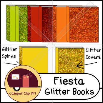 Books in Fiesta Glitter Colors, Clip Art {CU - ok!}