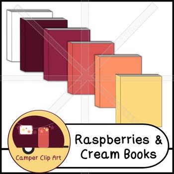 Books in Raspberries & Cream Colors, Clip Art {CU - ok!}