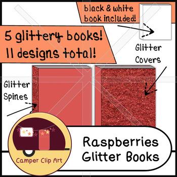 Books in Raspberries & Cream GLITTER Colors, Clip Art {CU - ok!}