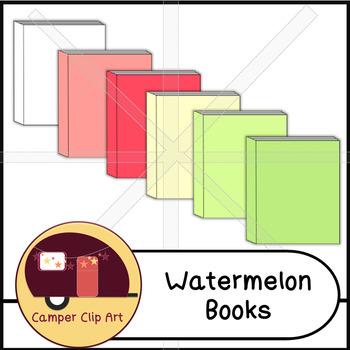 Books in Watermelon Colors, Clip Art {CU - ok!}