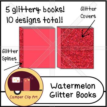Books in Watermelon GLITTER Colors, Clip Art {CU - ok!}