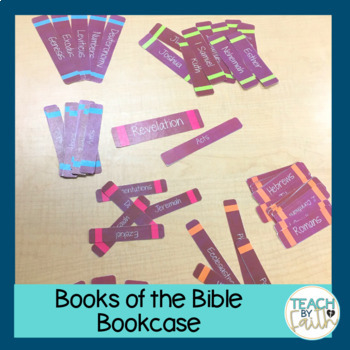Books of the Bible Bookcase - Dots on Turquoise