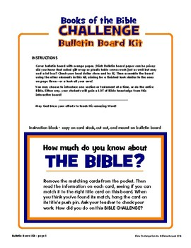 Books of the Bible Challenge — Bundled Bulletin Board, Game, Card Pack Files!