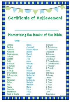 Books of the Bible Memory Activities and Certificates