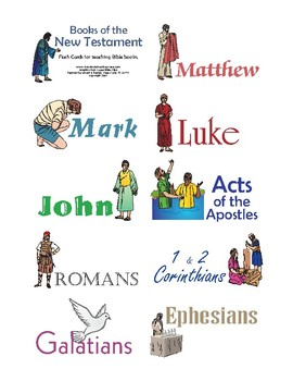 photo about Books of the Bible Printable Cards named Publications of the Bible: Contemporary Testomony Flashcards
