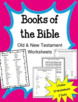 Books of the Bible.  Old New Testament.  Worksheets Test P