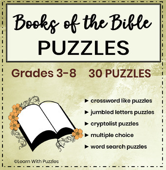 Books of the Bible Puzzle Collection- 30 Unique Books of the Bible Puzzles