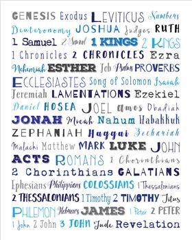 Books of the Bible print, Confirmation, Bible Verses, Scripture Art