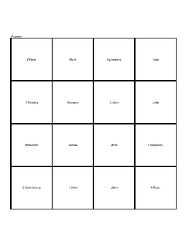 Books of the New Testament - Coverall Bingo - Bible Activity