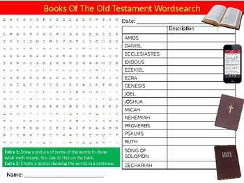 Books of the Old Testament Wordsearch Puzzle Sheet Keywords Homework Bible RE
