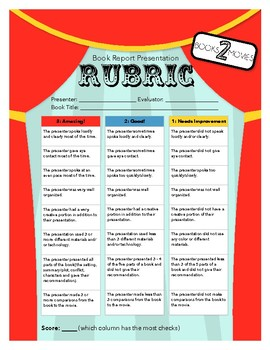 Books to Movies Book Report Presentation Rubric